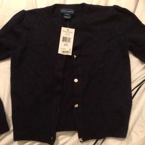NWT Ralph Lauren Navy Sweater Cardigan Girls 7